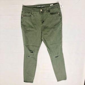 Old Navy The Rockstar Distressed Green Skinny Jean